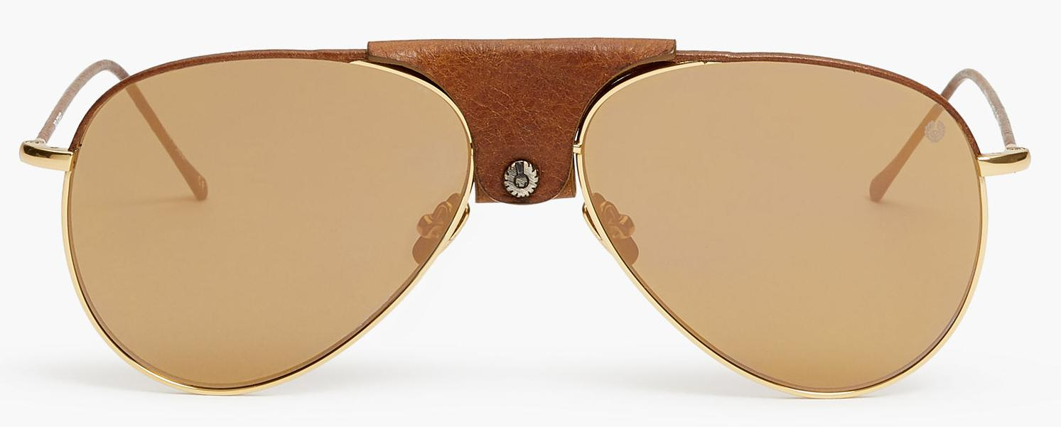 BELSTAFF DAYTONA ANTIQUE GOLD DARK BROWN LEATHER AVIATOR SUNGLASSES